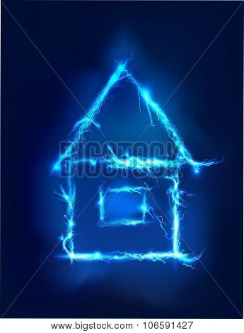 House made of electric lighting, thunder storm effect.