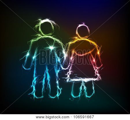 Man and woman made of electric lighting, thunder storm effect.