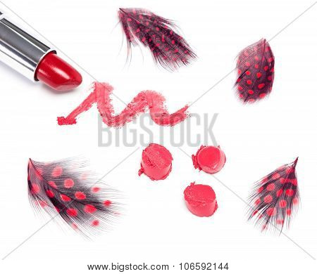 Bright Red Lipstick With Mottled Feathers