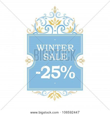 Winter Vector Sale -25% Discount Banner.