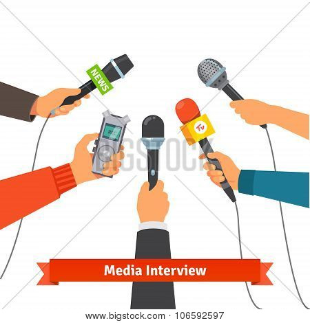Journalism concept. Microphones and voice recorder