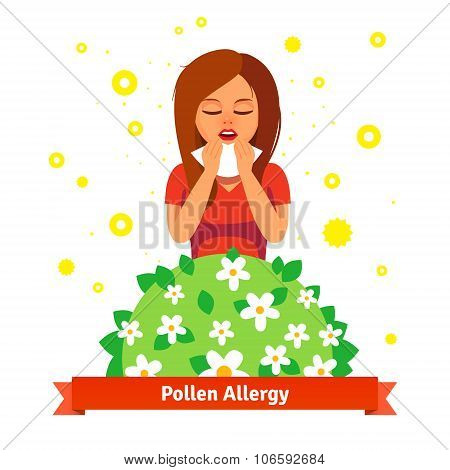 Girl suffering from spring pollen allergy