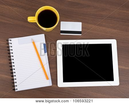 Blank copybook with tablet and empty card