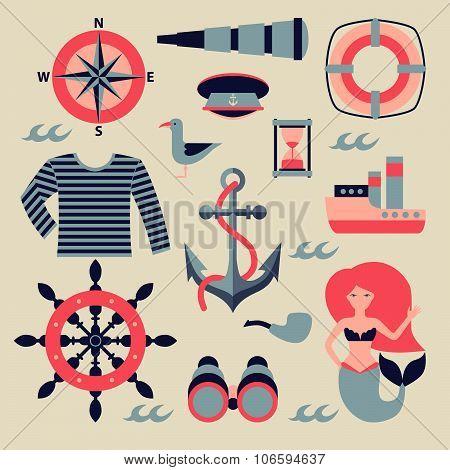 marine set illustration