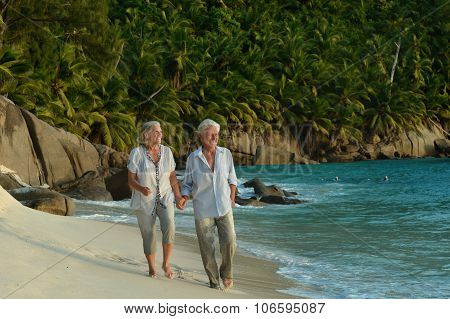 Elderly couple walking along  seashore
