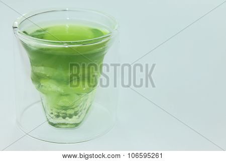 A skull with green jelly