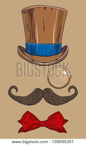 monocle, moustache, hat, bow, tie