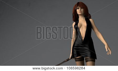 young woman posing with sword