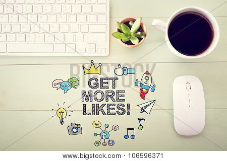 Get More Likes Concept With Workstation