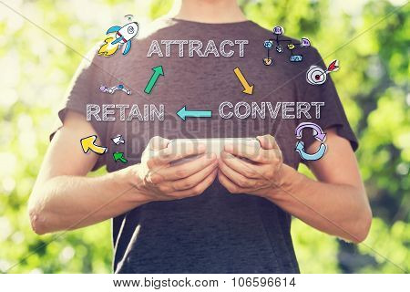 Customer Acquisition Concept With Young Man Holding His Smartphone