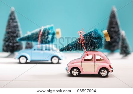 Cars Carrying Christmas Trees In Miniature Evergreen Forest