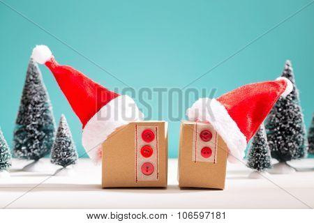 Gift Boxes With Santa Hats