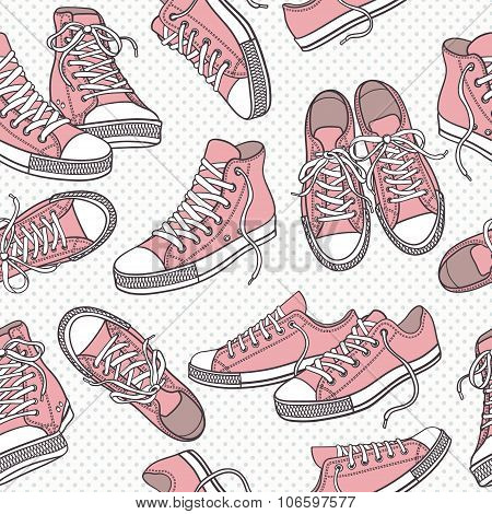 Seamless vector pattern (texture, background) with sneakers