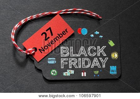 Black Friday November 27 Text On A Black Tag