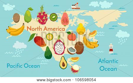 Fruit world map North America
