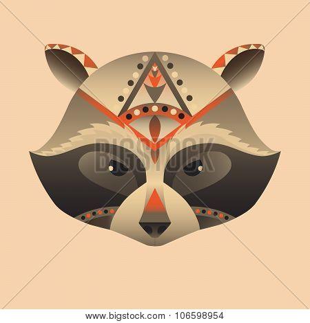 The abstract head of raccoon vector illustration