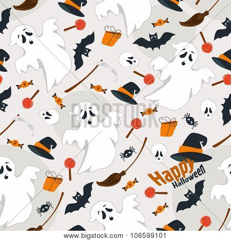 Seamless gray background flat design illustration of Halloween