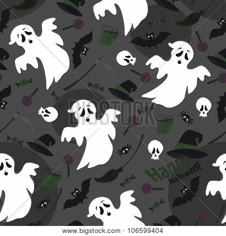 Vector illustration of a seamless background on the holiday Halloween