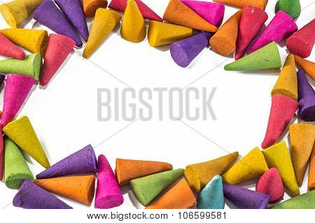 Colorful Incense Cones With White Background