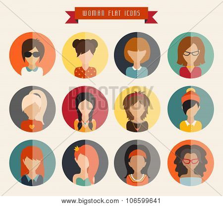 Woman vector illustration web userpic ribbon