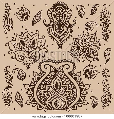 Henna vector design hand-draw elements