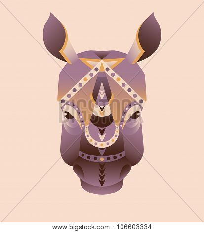 The abstract head of rhino vector illustration