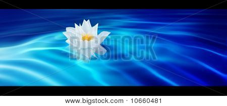 Abstract Blue Background With Lotus Flower