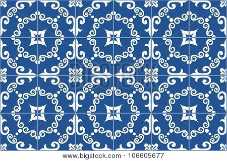 Traditional ornate portuguese and brazilian tiles azulejos. Vector illustration.