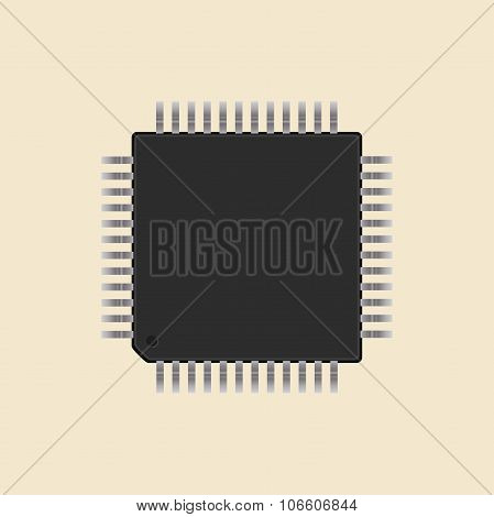 A Microcontroller. Cpu. Processor.  Vector
