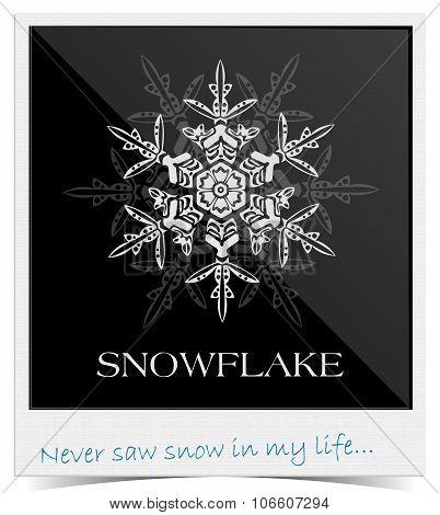 Vector snowflake inside photo frame