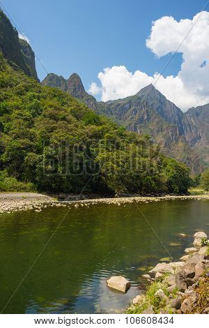 Urubamba River And Machu Picchu Mountains, Peru
