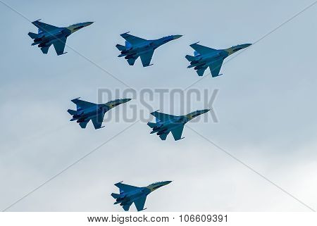 Teamwork of russian fighters SU-27 knights