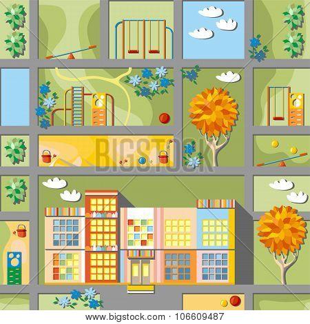 Cute Cartoon Map Of Kindergarten Land