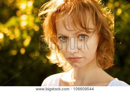 Summer Portrait Of Sad Girl