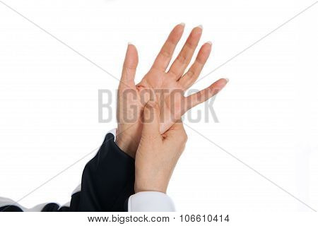 Acupuncture therapy massage. Demonstrating problem spots on the hands
