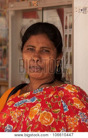 Little India,singapore-2008.portrait Of Unknown Hindu Woman Looking Directly.
