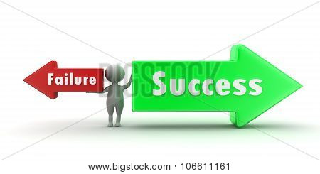 3D Man Success And Failure Arrow Concept