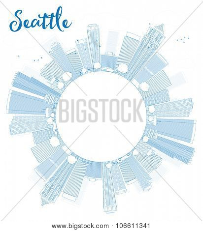 Outline Seattle City Skyline with Blue Buildings and copy space.Business travel and tourism concept with place for text. Image for presentation, banner, placard and web site.