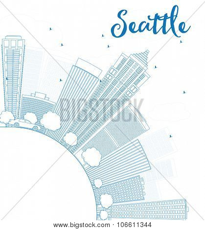 Outline Seattle City Skyline with Blue Buildings and copy space. Business travel and tourism concept with place for text. Image for presentation, banner, placard and web site.