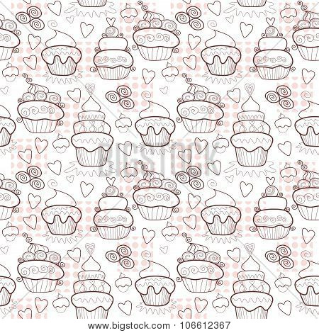 Pattern Of Sweet Cupcakes. Vintage Seamless Background. Vector Illustration.