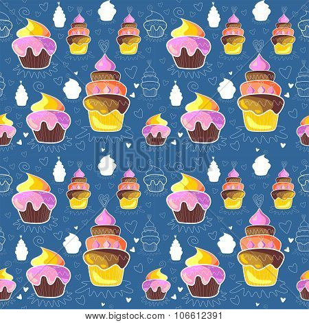 Pattern Of Sweet Cupcakes On Blue Background. Vector Illustration