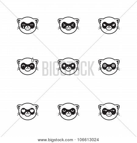 Vector trendy line style set of funny cartoon ferrets faces