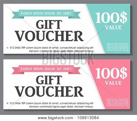 Gift Voucher Template with Sample Text Vector Illustration