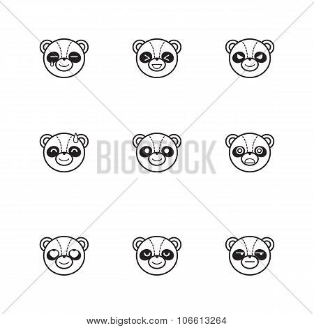 Vector trendy line style set of funny cartoon panda faces