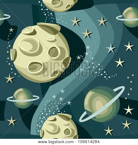 Illustration of fantasy cosmic starry night with big planets. Vector seamless pattern