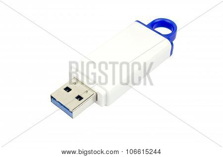 Usb Flash Drive 3.0 On White Background, Clipping Path