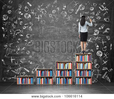 A Rear View Of Brunette Woman Who Is Drawing Educational Icons On The Huge Chalk Board. A Ladder Mad