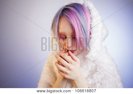unusual girl with pink hair, feel cold  in fur coat