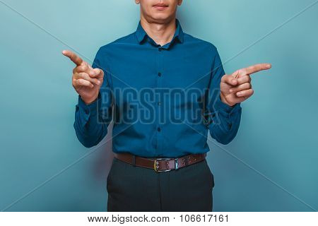 a  man can not see the person shows index fingers in opposite di