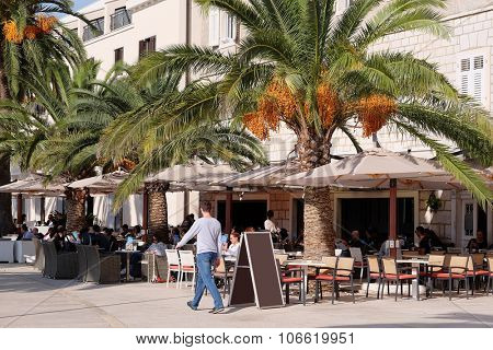 Tivat, Montenegro , October, 25, 2015: Cafe on the seashore in Tivat, Montenegro